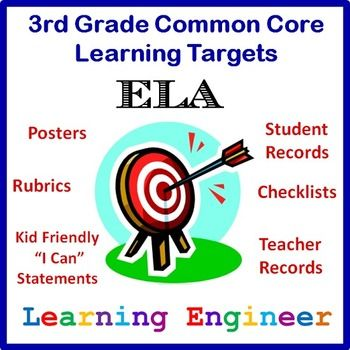 New and Improved - Learning Targets For The Common Core State Standards 3rd Grade ELA - Posters, Rubrics, Student Records, Teacher Records and checklists. $
