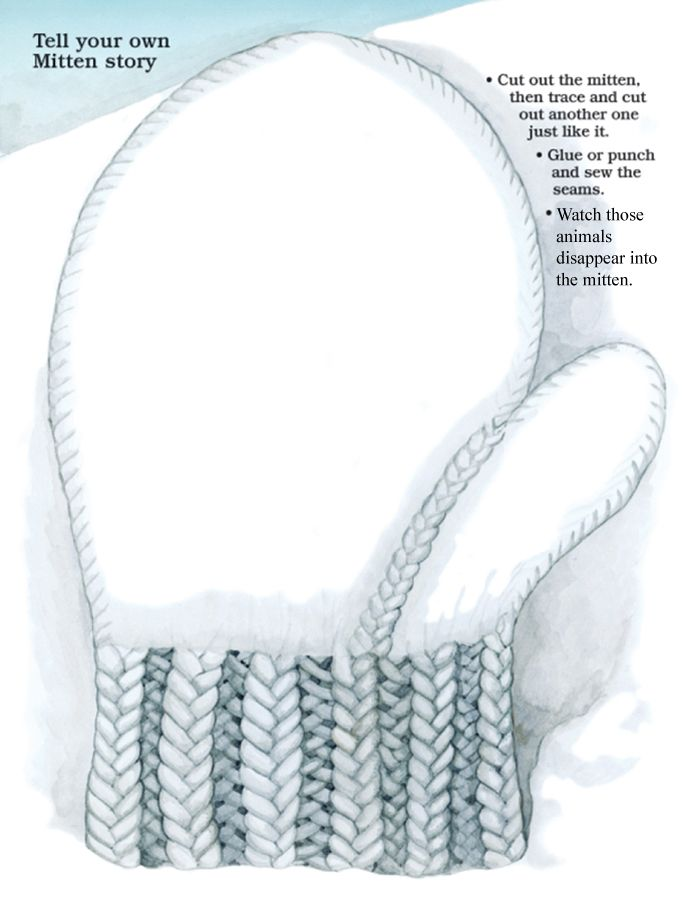 Tell your own Mitten story Printable mitten from Jan Brett