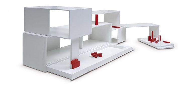 sleek, modular doll's house, mini archi, toys, white, house