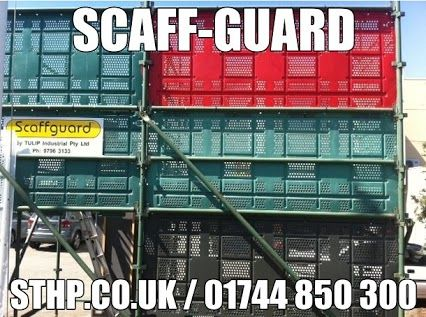 SCAFF-GUARD SCAFFOLDING SAFETY PRODUCTS - ST HELENS PLANT LIMITED  A new and innovative Scaffolding Safety System, ScaffGuard is compatible with modular 'Kwikstage' types of Scaffolding Systems. ScaffGuard is easy to install and a cost effective Containment System.  Contact Us - 01744 850 300 or Visit Us - WWW.STHP.CO.UK