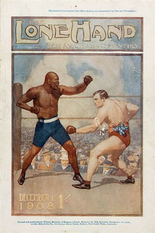 Boxing Day Battle, cover illustration for Lone Hand magazine, December 1 1908, by Norman Lindsay.       The Jack Johnson and Tommy Burns fight.    Find more detailed information about this image: http://www.sl.nsw.gov.au/events/exhibitions/2008/heritage/images/2.html  From the collection of the State Library of New South Wales:  www.sl.nsw.gov.au