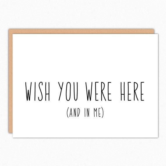 Missing You Card. Miss You Boyfriend Gift. Long Distance Valentines Day Card. Naughty Thinking of Yo