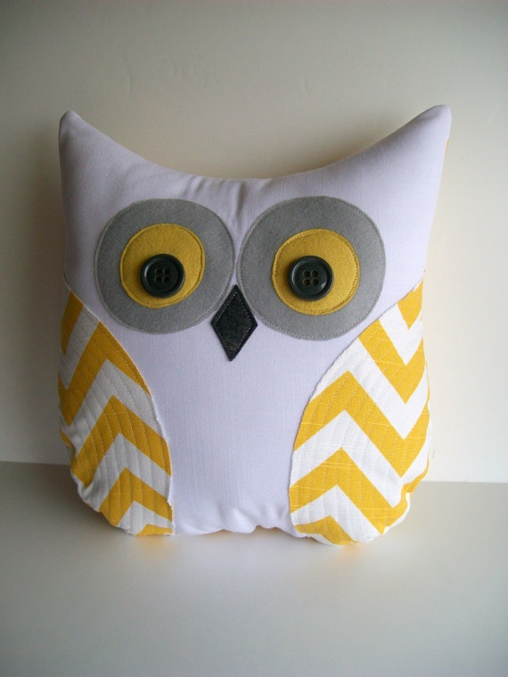 chevron owl pillow, decorative yellow and white chevron owl, autumn decor, unisex, grey and yellow chevron owl for nursery, READY TO SHIP. $38.00, via Etsy.