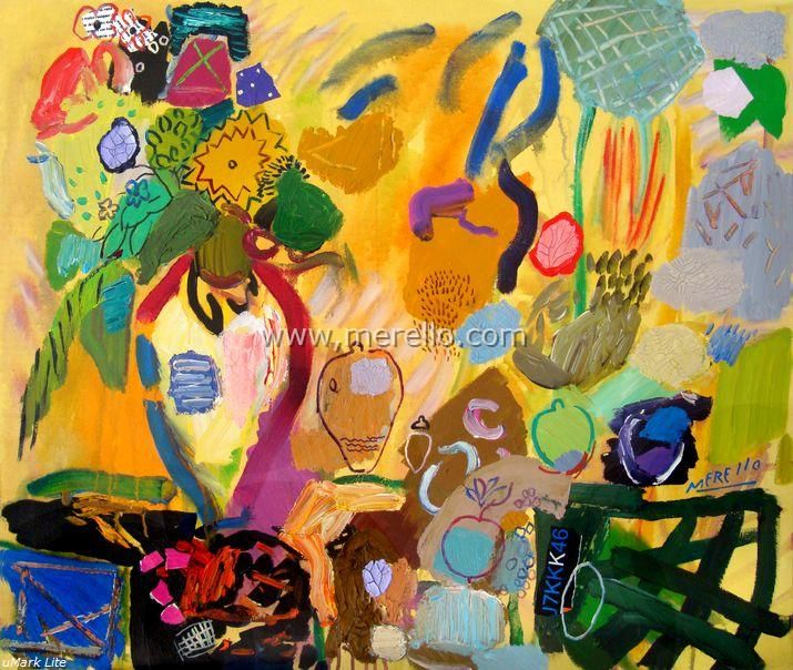 Arte contemporaneo Español-Spanish Modern Art-Art Espagnol Contemporaine-Merello.-Bodegon de la Alegria (100x81 cm) mix media on canvas.