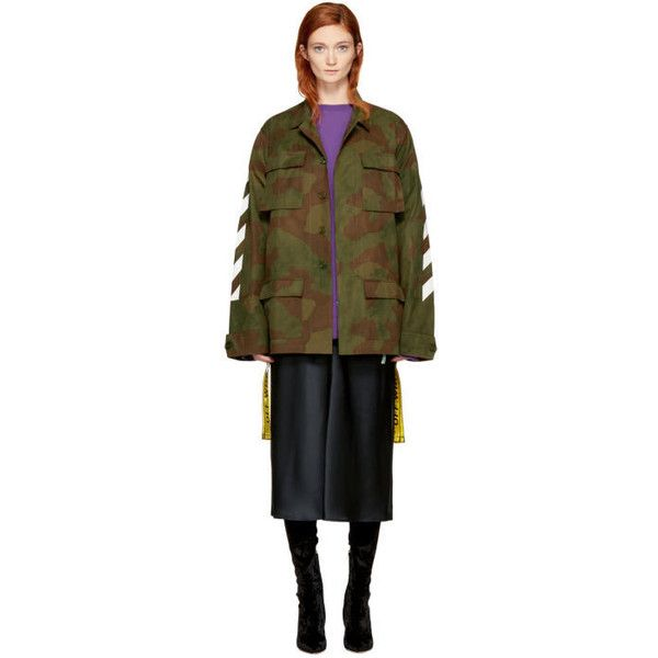 Off-White Green Camo Diagonal Field Jacket (8.070 DKK) ❤ liked on Polyvore featuring outerwear, jackets, green, military jacket, green jacket, camouflage print jacket, camo jacket and off white jacket