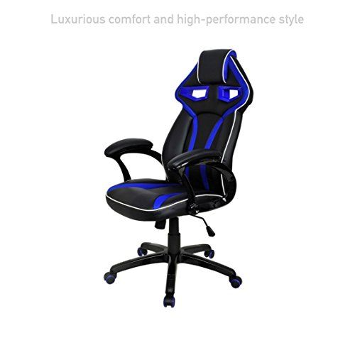 posture gaming chair fabric dining room covers executive racing car style high back computer chairs comfortable bucket seat swivel desk task support home office furniture 1573blu