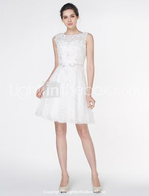 Lanting Bride® A-line Wedding Dress Knee-length Scoop Lace with Appliques / Lace 2017 - $129.99
