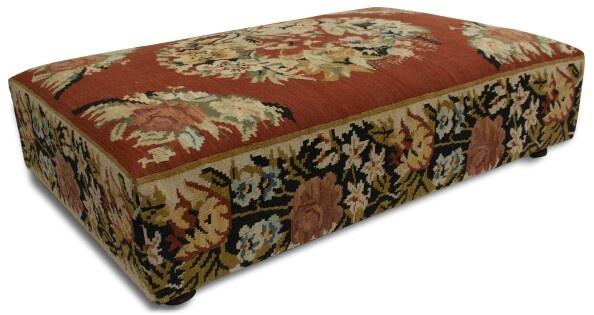 Made by Hill & Co.  Bessarabian design kelim on an ottoman.