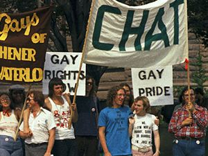 Housed in a former synagogue, CHAT was the hub of Toronto's gay community in the early 1970s and a point of departure for Toronto's first Pride March in 1972. An activist caucus, Toronto Gay Action, emerged from CHAT and launched the first large-scale gay rights demonstration in Canada.