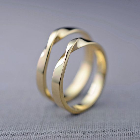 14K Gold Mobius Wedding Ring Set Hers and Hers by