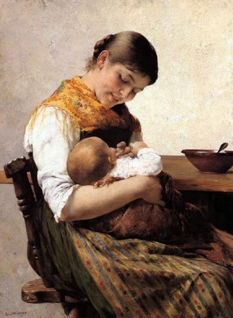 Motherly Care by Georgios Jakobides, Greek painter 1853-1932