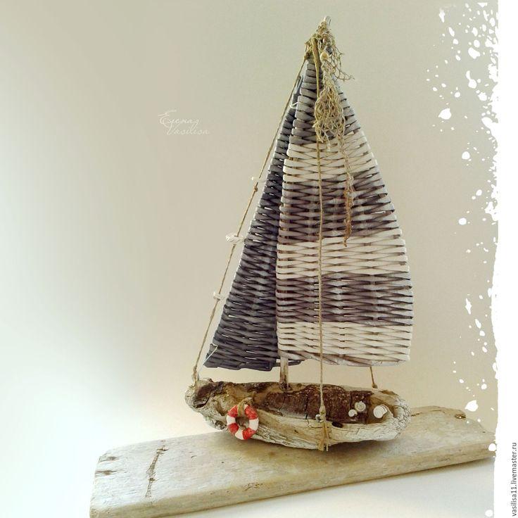 Купить 'Странник' Кораблик с плетеными парусами - кораблик, парусник, плетеные паруса, плетеный парусник