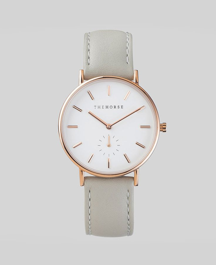 Rose Gold / Grey Leather