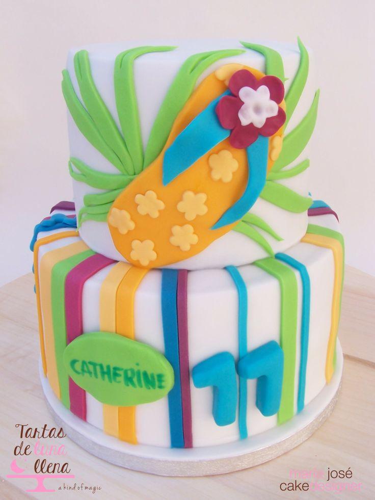 Tarta Aloha / hawaiana - Aloha / Hawaian Cake www.tartasdelunallena.blogspot.com maria jose cake designer