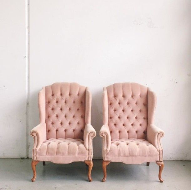 Home accessory: tumblr pink chair chair home decor blush pink quilted living room home furniture