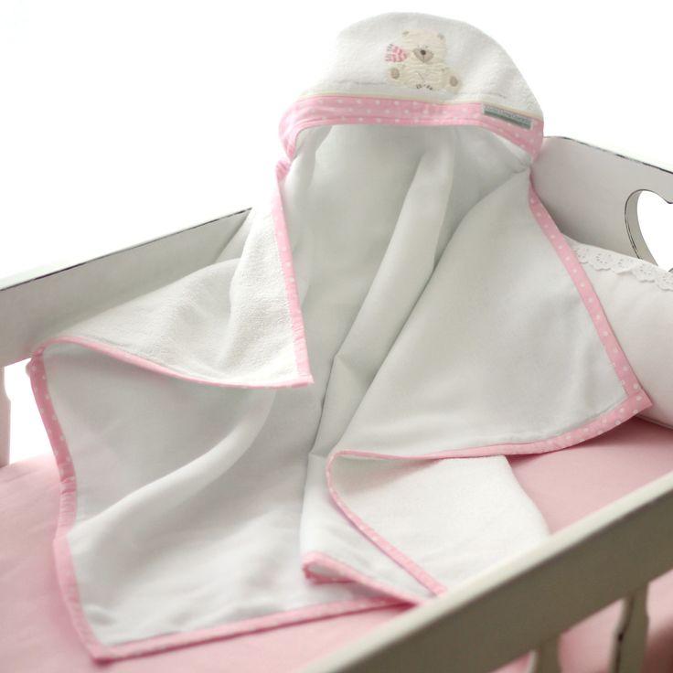 Toalha de Capuz forrada com fralda Ursa Polar Cor de Rosa