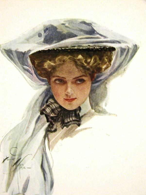 Harrison Fisher Girl SWEET BLUE BONNET 1908 Art Matted | eBay: