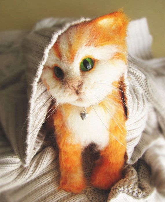 Needle Felted Ginger Kitten life sized Autumn Colors by VladaHom, $200.00