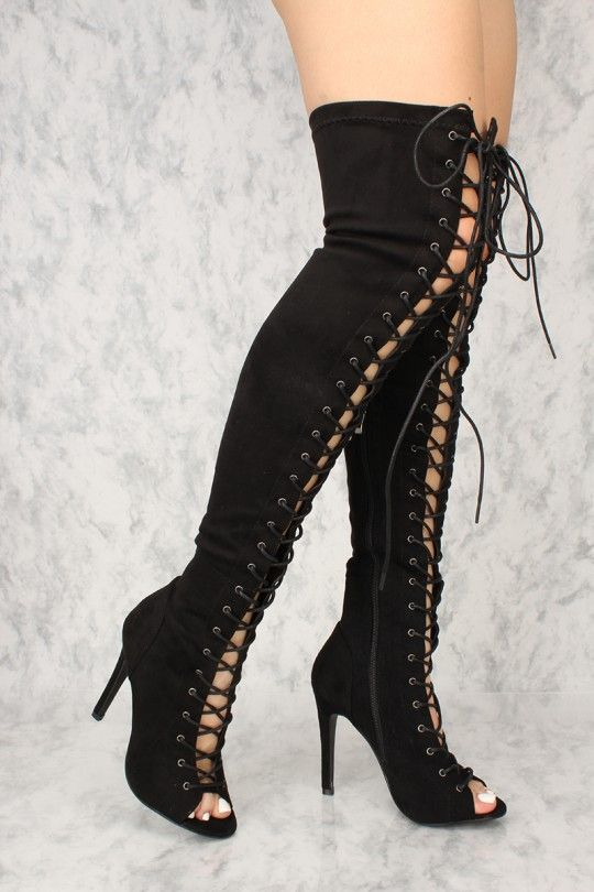 cd1660ef0811 Sexy Black Lace Up Open Toe Thigh High Boots Faux Suede in 2019 ...
