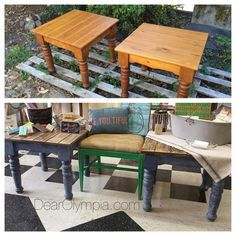 Before and after of two NINETIES Era Warm Pine Side Tables | Refinished Furniture from Dear Olympia | Painted in CeCe Caldwells Paints Nantucket Spray, Newport Navy and Kukui Stain + Finish, sealed with Endurance Finish. #dearolympia #cececaldwellspaints