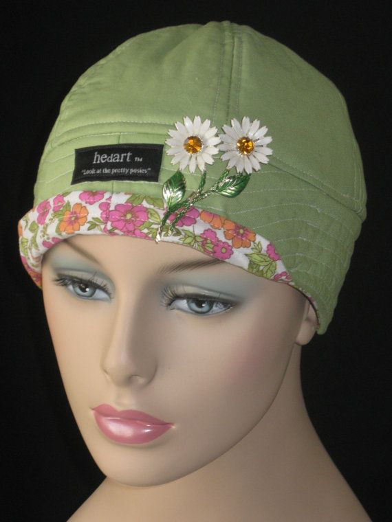 Cancer Hats for Hair Loss or Caps for Chemo /Light Green by hedart, $35.00