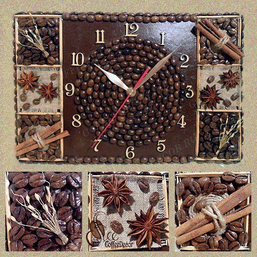 Настенные панно-часы из кофейных зёрен