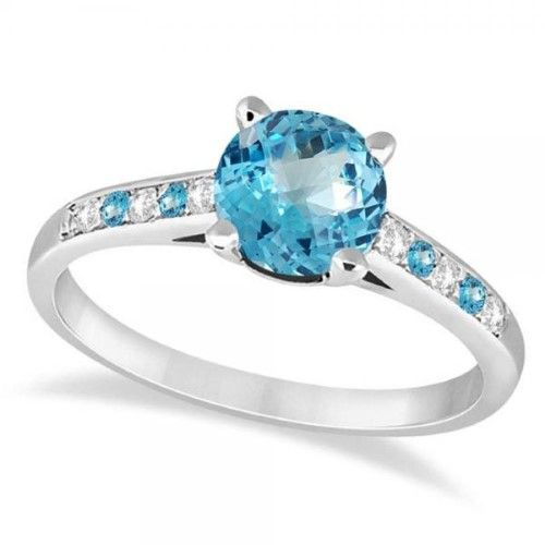 Cathedral Blue Topaz & Diamond Engagement Ring 18k White Gold (1.20ct), Women's, Size: 7.5