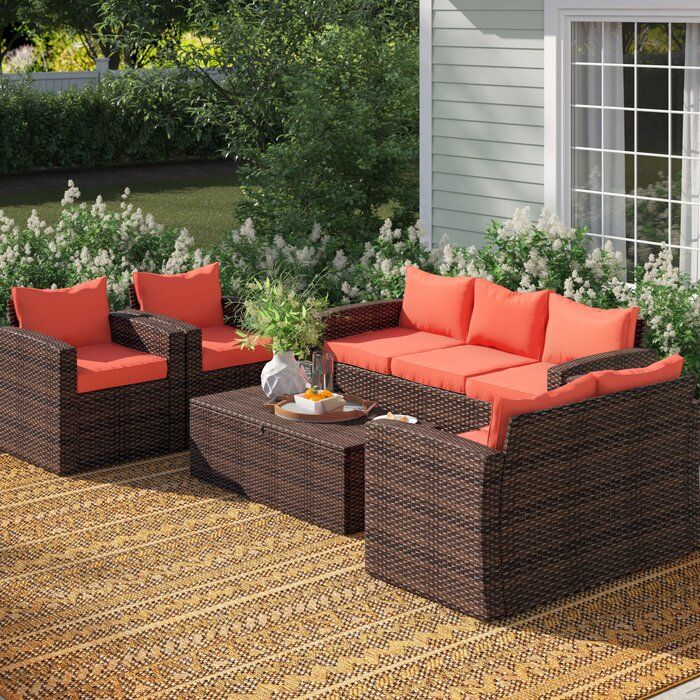 Arlington 5 Piece Rattan Sofa Seating Group With Cushions Patio Furniture Sets Patio Furniture For Sale Rattan Sofa