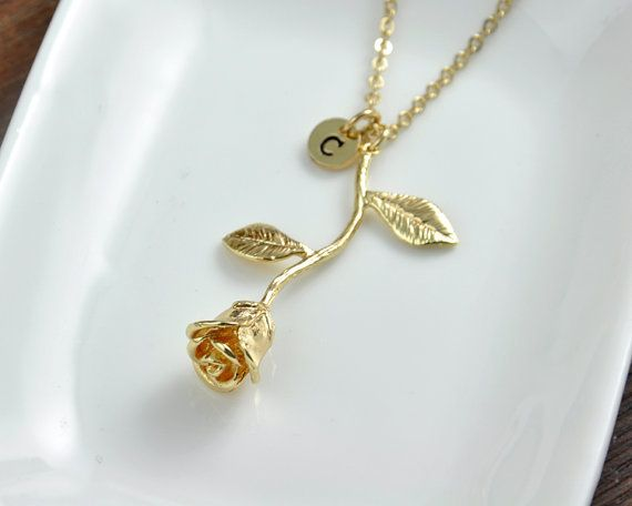 Gold Rose Necklace Beauty and the Beast Rose by InitialFashion