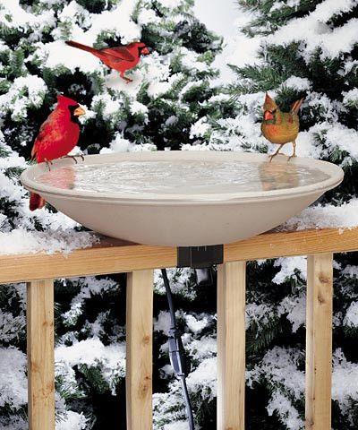 Allied Precision Deck Mounted Heated Bird Bath, Stone Color