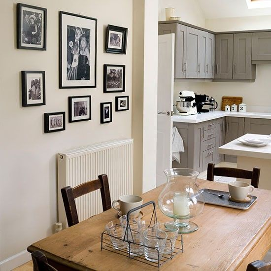 Cream and soft grey kitchen diner | Kitchen decorating | Ideal Home | Housetohome.co.uk