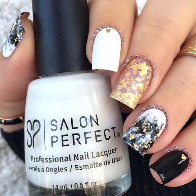 Granite ✖️ Gold Leaf✨Loving this effect featuring @salonperfectTutorial ...