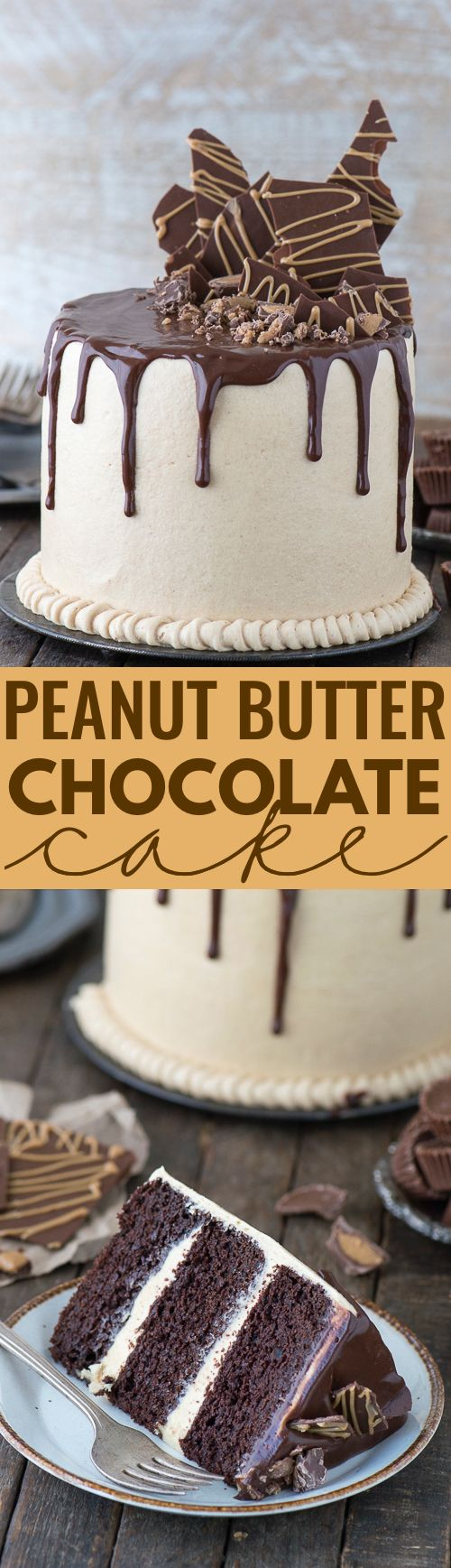 This peanut butter chocolate cake recipe is AMAZING! Chocolate cake paired with peanut butter buttercream and dripping with chocolate ganache.