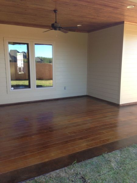 Stamped Faux Flooring : Concrete faux wood patio plank look on back