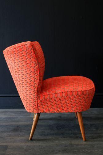 Upcycled 1950s Bartolomew Cocktail Chair - Citrus Orange Underground Velvet