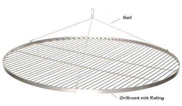 Familiengrillen mit dem XXL 100cm Edelstahl Grillrost für den Schwenker