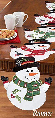 Snowman Winter White Delightful Table Runner
