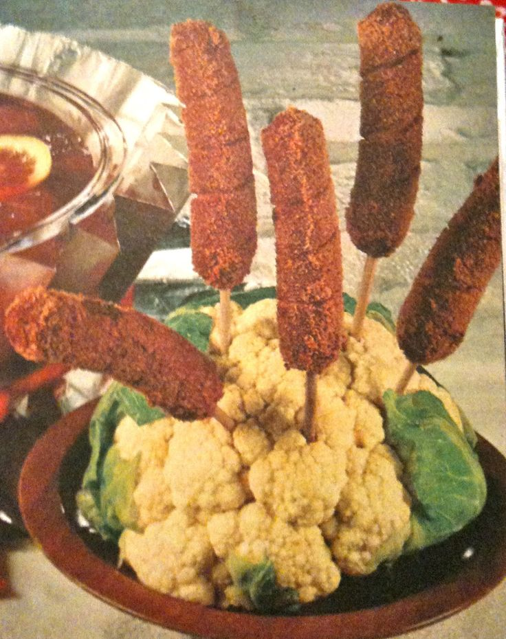 Hot dog - cauliflower centerpiece. hahaha wtf