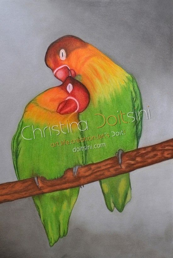 Love Parrots. Pastel drawing by Christina Doitsini