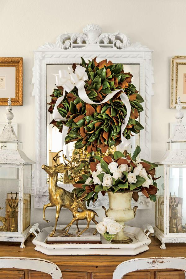 10 Ways to Decorate with Magnolia this Christmas Mirror a Wreath Part Deux & 431 best Christmas~Southern Elegance images on Pinterest | Christmas ...
