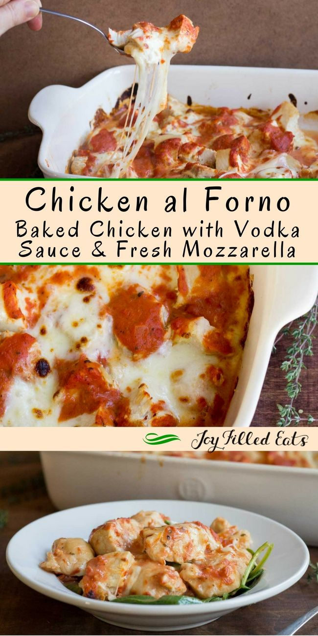 Chicken al Forno with Vodka Sauce & Fresh Mozzarella - Low Carb, Keto, THM S, Grain Free has only 5 ingredients and a 5 minute prep time. And can be on the table in about thirty minutes. Can't beat that! via @joyfilledeats