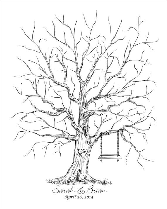 Wedding Thumb Tree Guest Book Alternative Guestbook by fancyprints