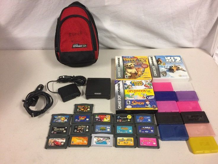 Nintendo Gameboy Advance SP AGS-001 Black With 18 Games  | eBay