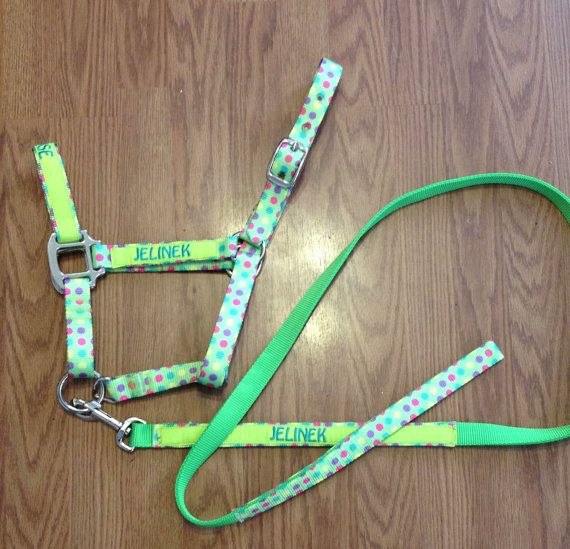 Personalized Monogrammed Embroidered Equine Horse Halter / Horse Collar / Horse Tack CANDY DOTS on Etsy, $18.00
