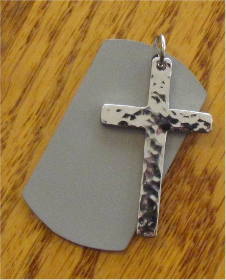Silver Two Piece Hand Hammered Cross Reversible DogTag