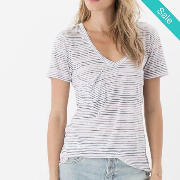 IN STORE ZSupply Blue/White Striped Nautical Perfect Pocket Tee Shirt Top -  Our nautical-inspired version of our classic Pocket Tee is about to become your forever favorite. Made from our signature burnout jersey, this tee is features an an all-over stripe print, short sleeves, a curved v-neckline, a slouchy raw edge pocket, and a curved hem.    FABRIC 50% Cotton 40% Polyester 10% Rayon   CARE Our signature burnout garments are specially treated for perfectly imperfect variations in color…