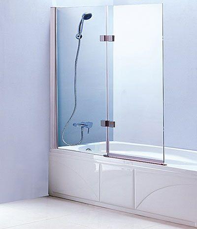 Tub Screen LineaAqua Baja 40 X 55 Frameless Bath Tub Enclosure Bath Tub  Glass Screen With 2 Panel Folding Swing Door