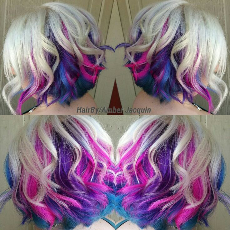 Icy blonde with pink, purple and blue peekaboos. Hair by Amber Jacquin