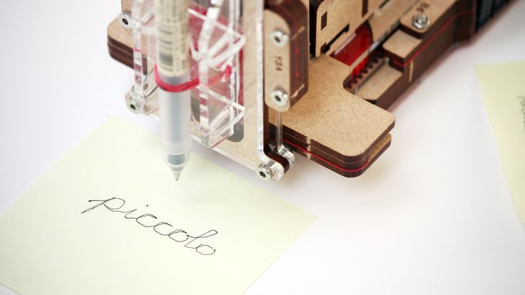 Piccolo is a pocket sized open source CNC-bot. Using laser-cutting, off-the-shelf hardware and Arduino, you can make your own simple 3 axis robot. Attach a brush or pen to make a quick drawing robot, or extend Piccolo with sensors, custom toolheads, or by using multiple Piccolos together. Experiment with 2D or 3D digital fabrication at a small scale!