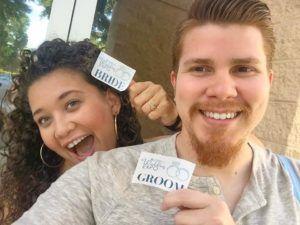 Cute couple engagement announcement picture